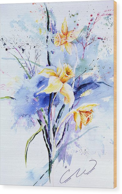 Spring Daffidolds Wood Print