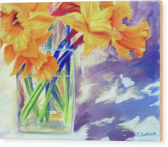 Spring Daffodils Wood Print by Joan Swanson