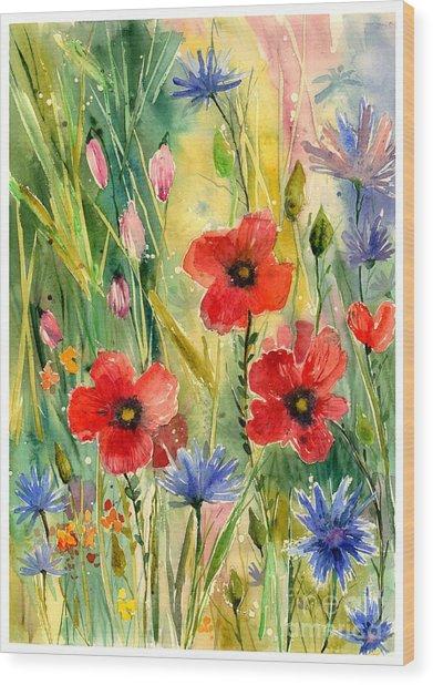 Spring Field Wood Print