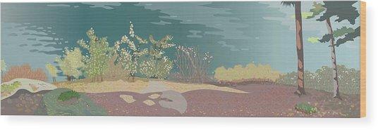 Spring Flora On Lake Shore Wood Print by Marian Federspiel