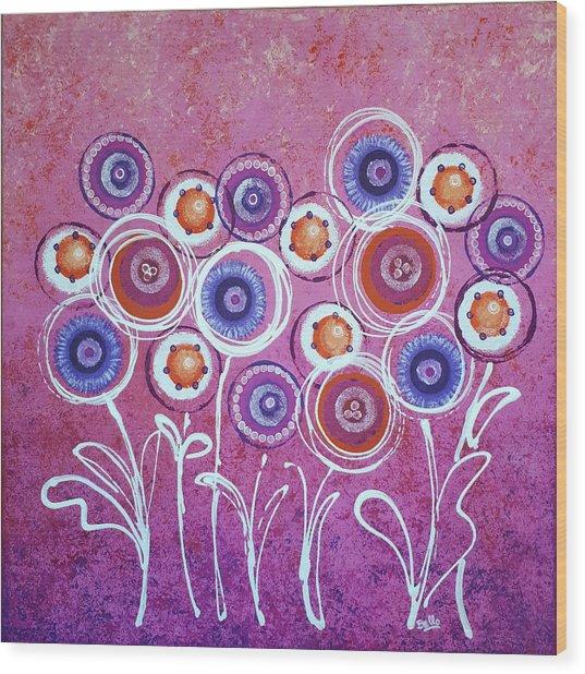 Pink New Flowers Wood Print