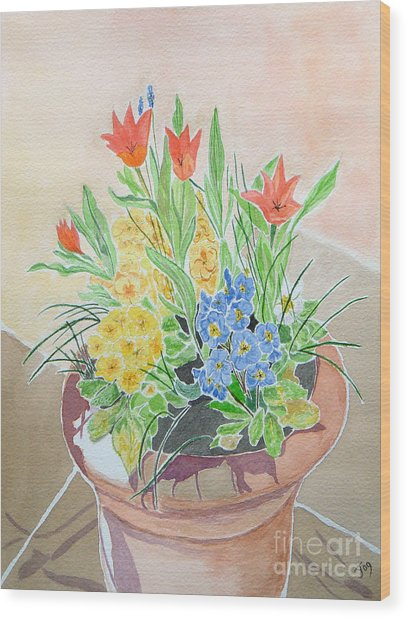 Spring Flowers In Pot Wood Print