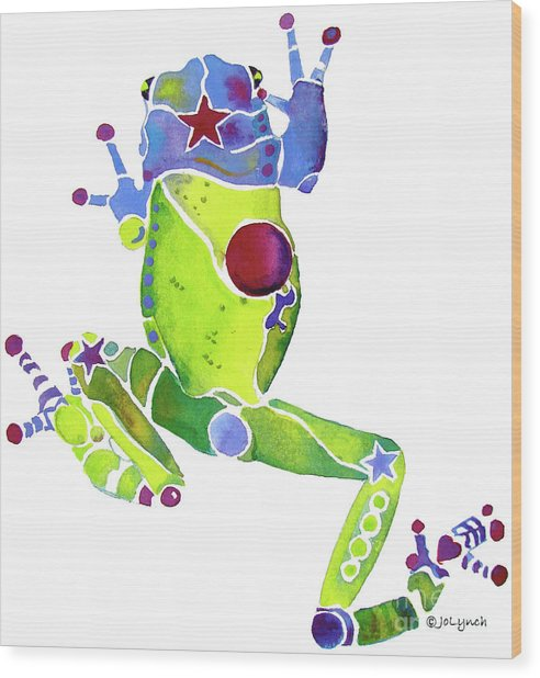 Spring Green Frog Wood Print
