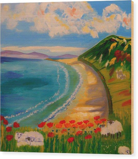 Spring Lambs At Rhossili Bay Wood Print