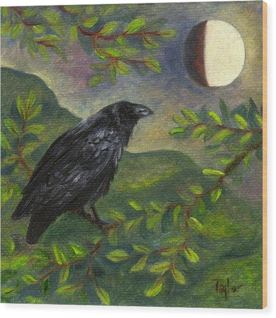Spring Moon Raven Wood Print