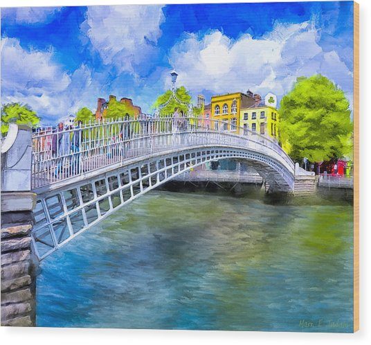 Wood Print featuring the painting Spring On The Liffey - Historic Dublin by Mark E Tisdale