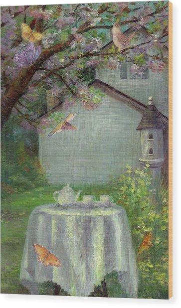Spring Orchard Teatime Wood Print
