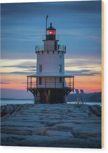 Spring Point Ledge Light Blue Hour II Wood Print