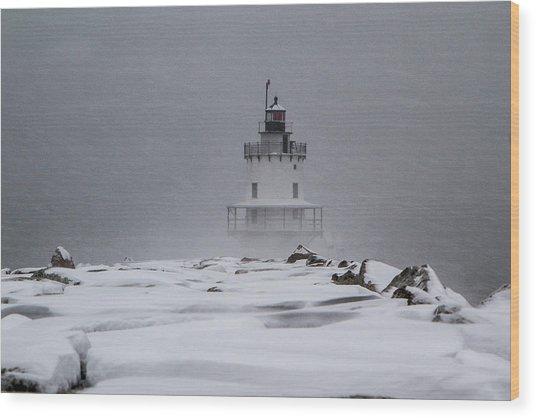 Spring Point Ledge Lighthouse Blizzard Wood Print