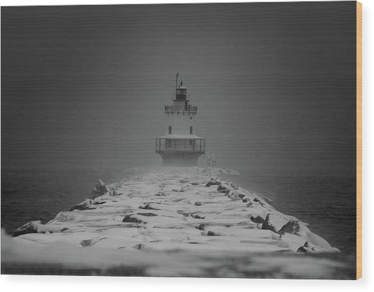Spring Point Ledge Lighthouse Blizzard In Black N White Wood Print