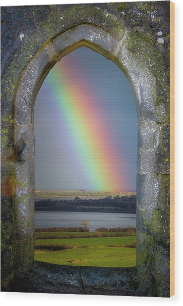 Wood Print featuring the photograph Spring Rainbow Over Ireland's Shannon Estuary by James Truett