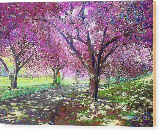 Spring Rhapsody, Happiness And Cherry Blossom Trees Wood Print