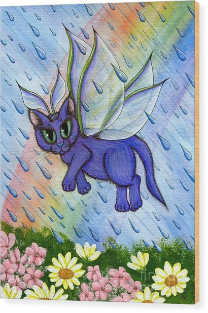 Spring Showers Fairy Cat Wood Print