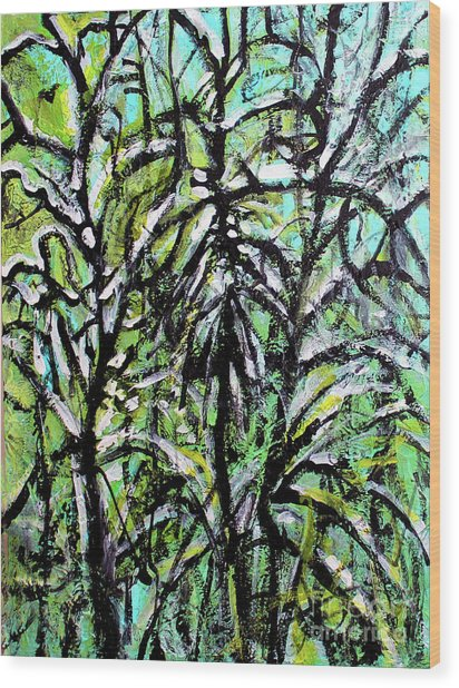 Wood Print featuring the painting Spring Snow by Priti Lathia