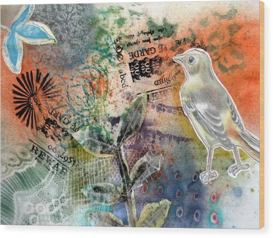 Wood Print featuring the mixed media Spring Song by Rose Legge
