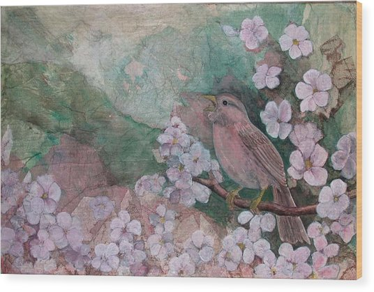 Spring Song Wood Print by Sandy Clift