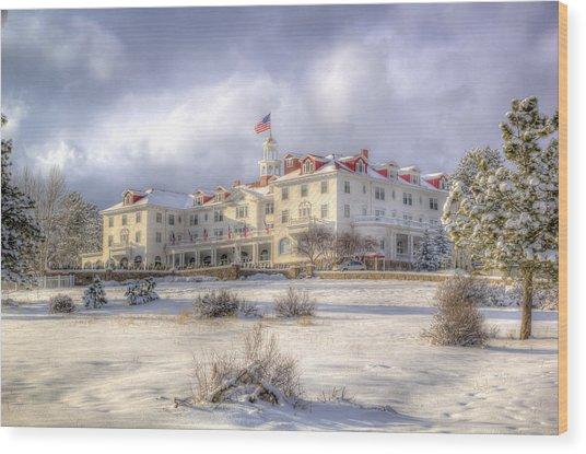 Spring Storm At The Stanley Hotel Wood Print