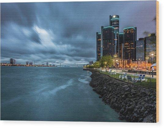 Storm Season In Detroit  Wood Print
