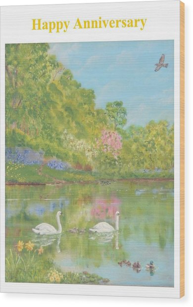 Spring Swans Anniversary Card Wood Print by David Capon