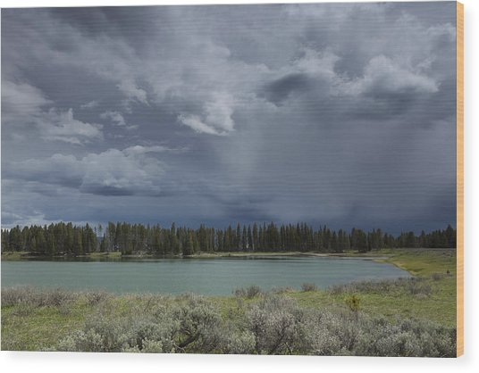 Spring Thunderstorm At Yellowstone Wood Print