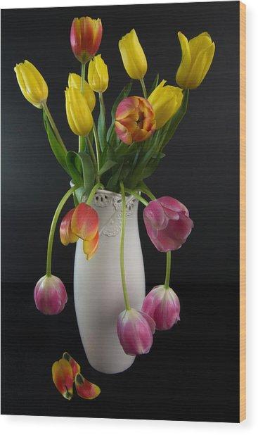 Spring Tulips In Vase Wood Print