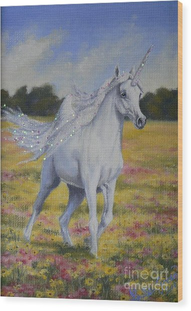 Spring Unicorn Wood Print by Louise Green