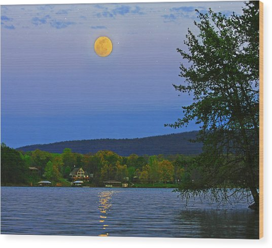 Spring's First Full Moon Smith Mountain Lake Wood Print