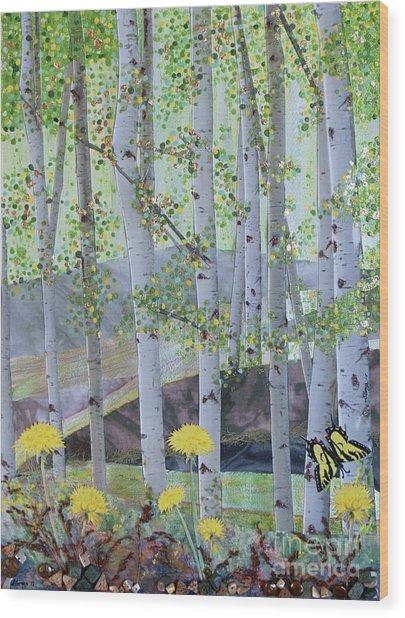 Springtime Aspens Wood Print