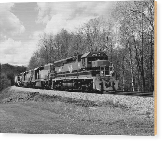 Sprintime Train In Black And White Wood Print
