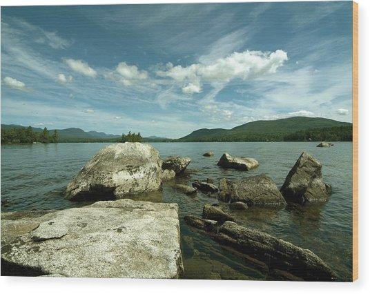 Squam Lake On The Rocks Wood Print