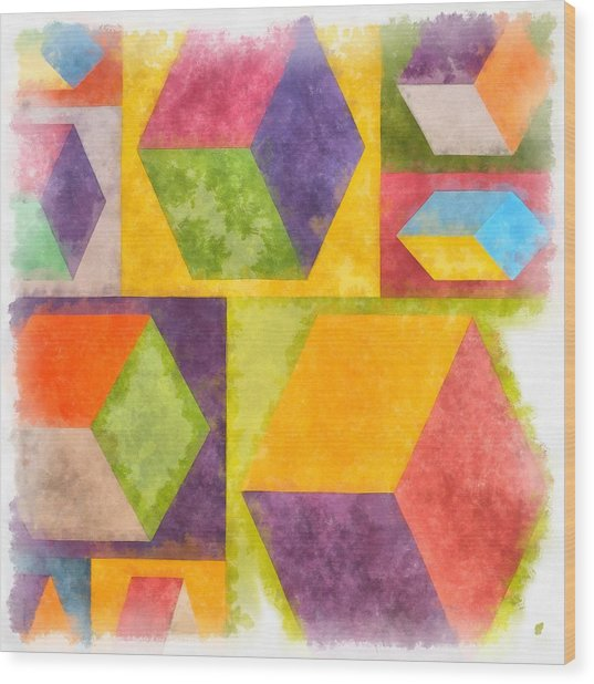 Square Cubes Abstract Wood Print