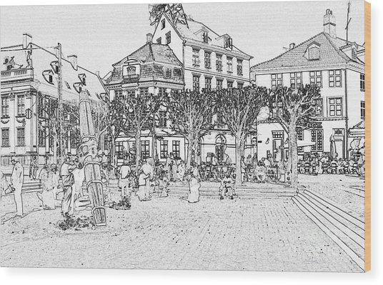 Square In Copenhagen At Nyhavn Wood Print by Sascha Meyer