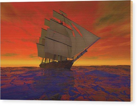 Square-rigged Ship At Sunset Wood Print