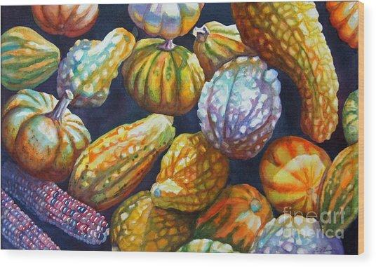 Squash Wood Print by Gail Zavala