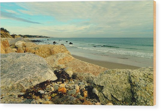 Squibby Cliffs And Mackerel Sky Wood Print