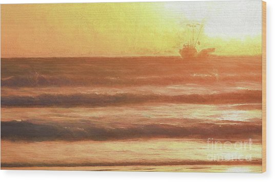 Squid Boat Sunset Wood Print