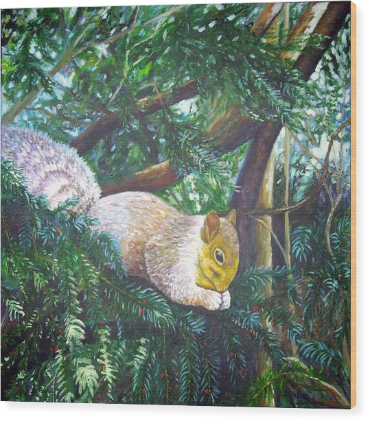 Squirrel Snacking Wood Print