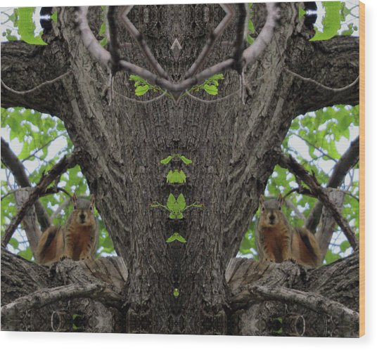 Squirrels Advising The Tiki God Wood Print