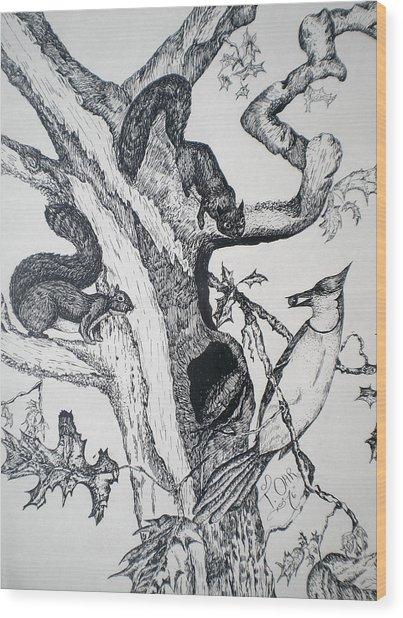 Squirrels And Bird Wood Print by Tammera Malicki-Wong