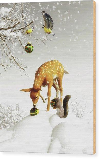 Wood Print featuring the painting Squirrels And Deer Christmas Time by Jan Keteleer