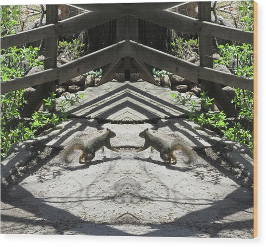 Squirrels Dancing On A Bridge Wood Print
