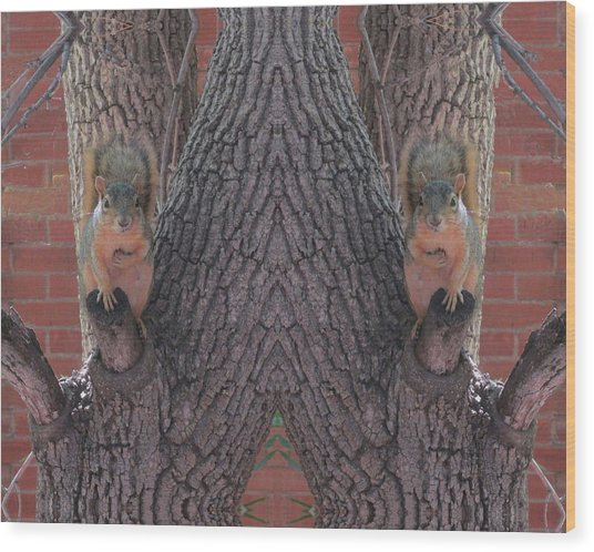 Squirrels In A Tree With Hands On Their Hearts Wood Print