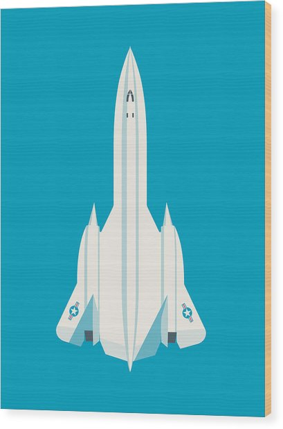 Sr-71 Blackbird Jet Aircraft - Blue Wood Print