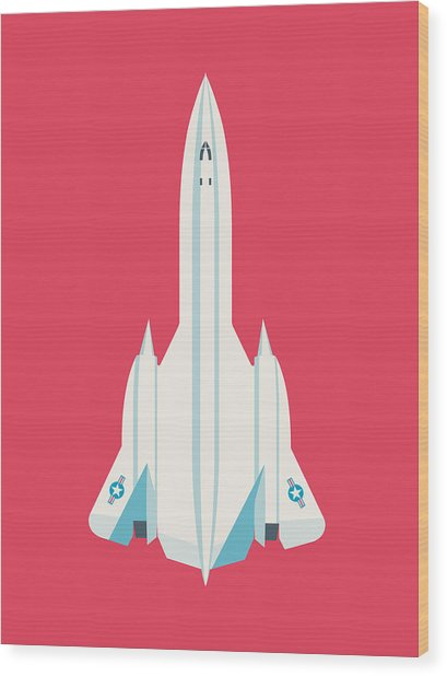 Sr-71 Blackbird Jet Aircraft - Crimson Wood Print