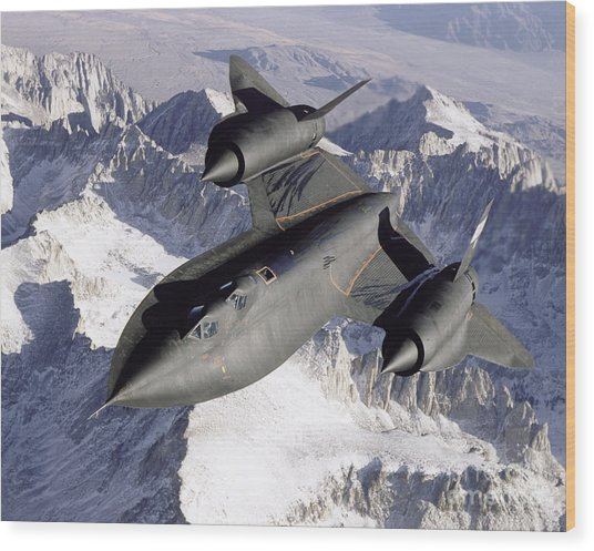Wood Print featuring the photograph Sr-71b Blackbird In Flight by Stocktrek Images