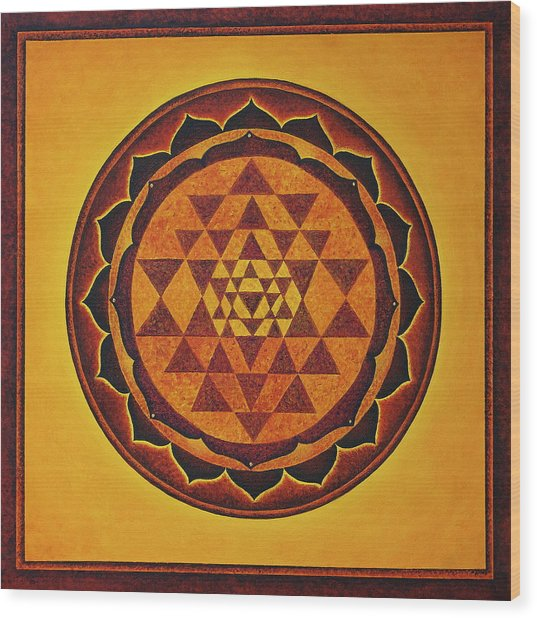 Sri Yantra - The Glow Of The Beloved Wood Print