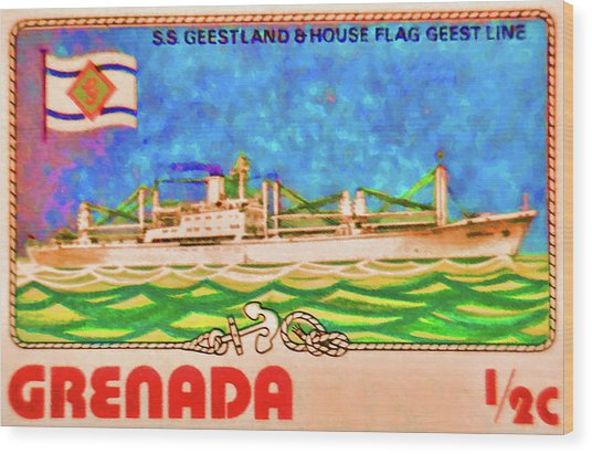 S.s Geestland And House Flag Geest Line Wood Print
