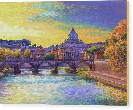 St Angelo Bridge Ponte St Angelo Rome Wood Print