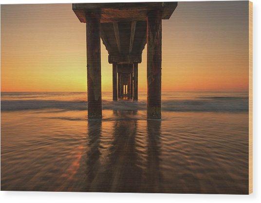 St Augustine Beach Pier Morning Light Wood Print