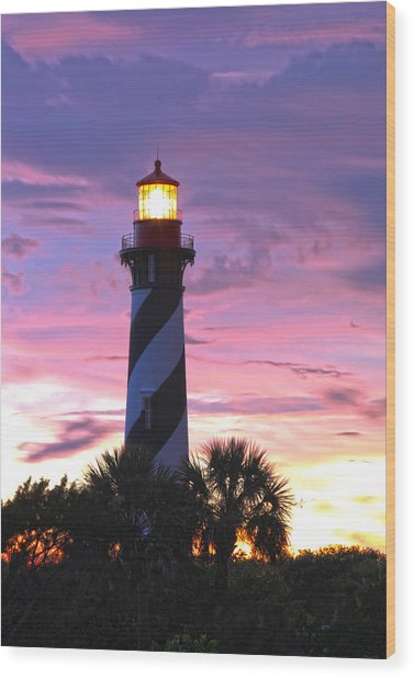 St. Augustine Light Wood Print